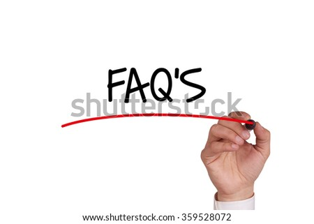 Hand writing FAQ'S with Black Marker on Transparent Wipe Board - stock photo