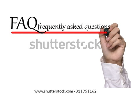 Hand writing FAQ workshop over white - stock photo