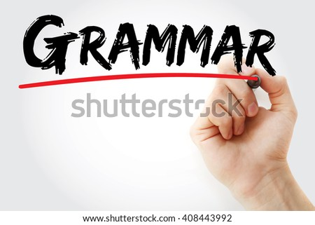 Hand writing Grammar with marker, education concept background - stock photo