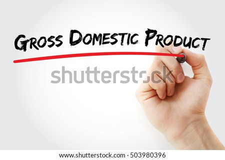 Hand writing gross domestic product with marker, concept background