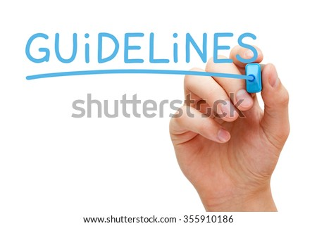 Hand writing Guidelines with blue marker on transparent wipe board.