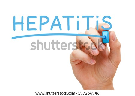 Hand writing Hepatitis with blue marker on transparent wipe board.