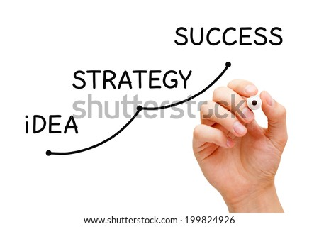 Hand writing Idea Strategy Success concept with black marker on transparent wipe board.