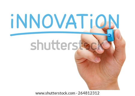 Hand writing Innovation with blue marker on transparent wipe board. - stock photo