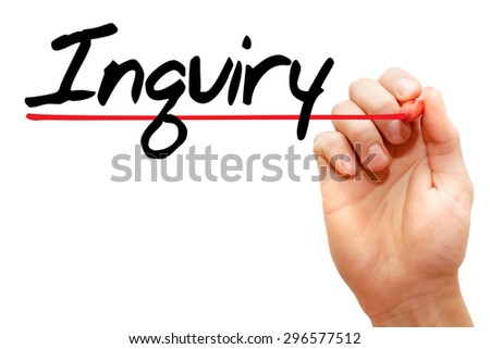 Hand writing Inquiry with marker, business concept - stock photo