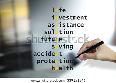 hand writing insurance puzzle words crossword , business idea , business concept - stock photo