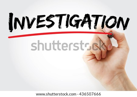 Hand writing Investigation with marker, business concept - stock photo