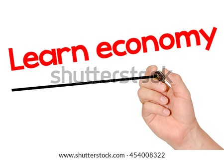 Hand writing Learn economy with marker, concept background