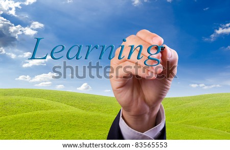 hand writing learning word - stock photo
