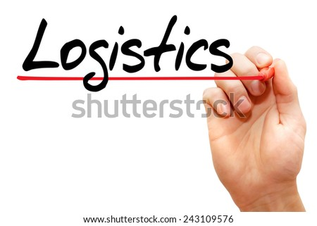 Hand writing Logistics with marker, business concept - stock photo