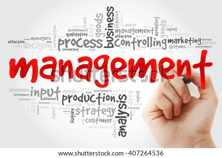 Hand writing MANAGEMENT word cloud, business concept - stock photo