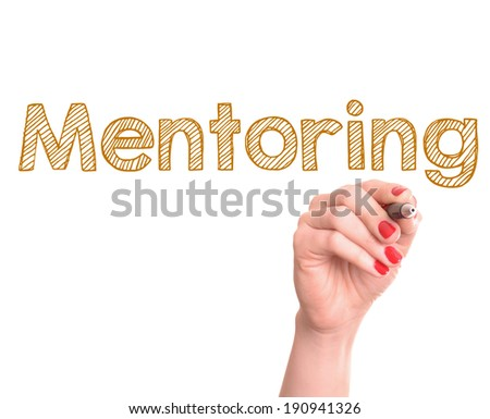 Hand writing mentoring with marker on transparent wipe board.  - stock photo
