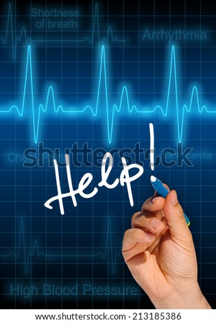 Hand writing message HELP! with heart rate monitor in the background expressing health hazard - stock photo