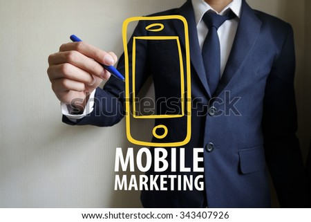 hand writing mobile marketing , business concept, business idea  - stock photo