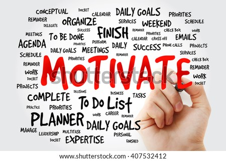 Hand writing Motivate word cloud, business concept - stock photo