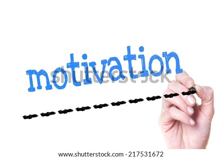 Hand writing Motivation with blue marker on transparent wipe board - stock photo