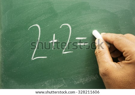 Hand writing on chalkboard