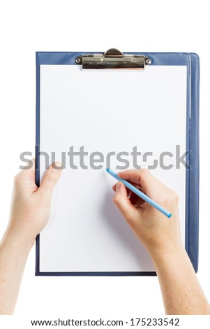 Hand writing on clipboard with blank sheet of paper isolated on white background - stock photo