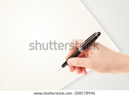 Hand writing on plain empty white paper copy space with pen