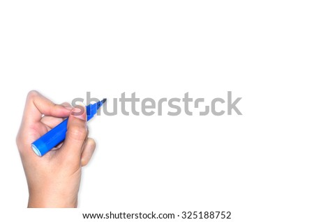 Hand writing on white background