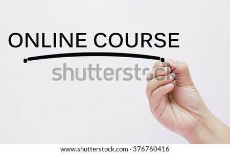 hand writing online course - stock photo