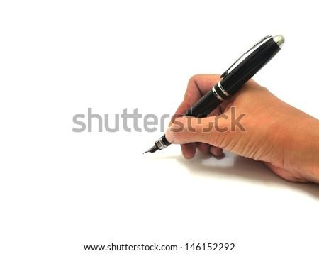 Hand writing over white - stock photo