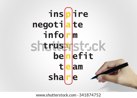 hand writing partner   puzzle words crossword , business idea , business concept - stock photo