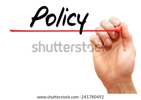 Hand writing Policy with red marker, business concept - stock photo