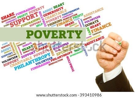 Hand writing Poverty word on a transparent wipe board. Word collage concept. - stock photo