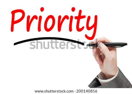 Hand writing Priority isolated on white - stock photo