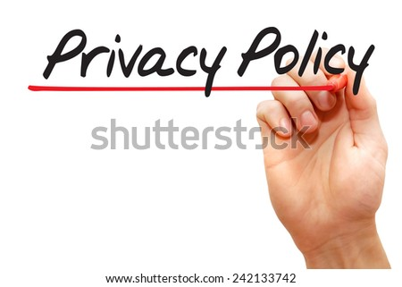 Hand writing Privacy Policy with marker, business concept - stock photo
