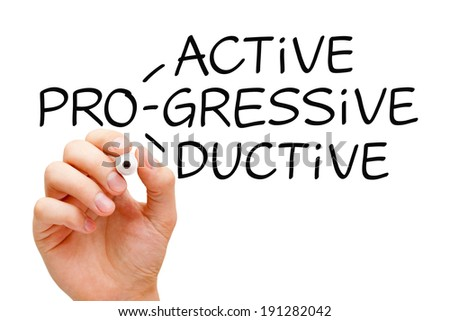 Hand writing Proactive Progressive Productive with black marker on transparent wipe board. - stock photo
