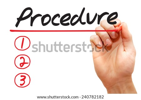 Hand writing Procedure List with red marker, business concept - stock photo