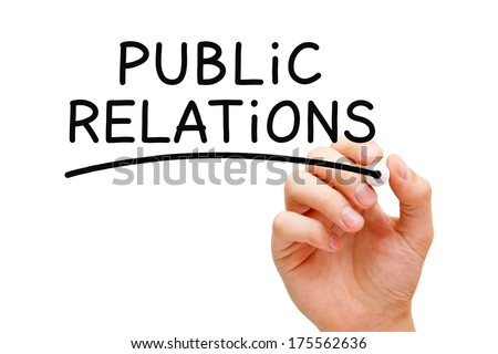 Hand writing Public Relations with black marker on transparent wipe board. - stock photo