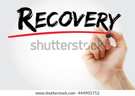 Hand writing Recovery with marker, concept background - stock photo