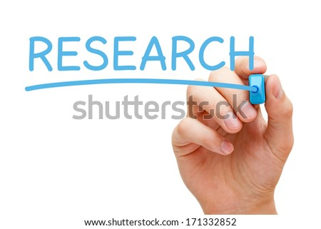 Hand writing Research with blue marker isolated on white. - stock photo