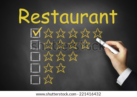 hand writing restaurant chalkboard rating