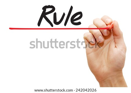 Hand writing Rule with red marker, business concept - stock photo