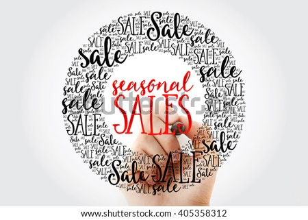 Hand writing SEASONAL SALES circle word cloud, business concept background - stock photo