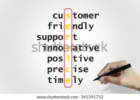 hand writing service puzzle words crossword , business idea , business concept - stock photo
