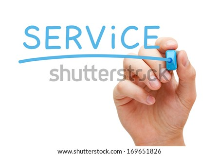 Hand writing Service with blue marker on transparent wipe board. - stock photo