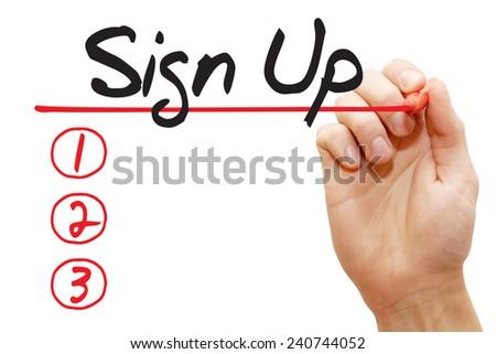 Hand writing Sign Up List with red marker, business concept - stock photo