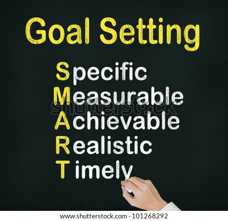 hand writing  smart goal or objective setting - specific - measurable - achievable realistic - timely on chalkboard - stock photo