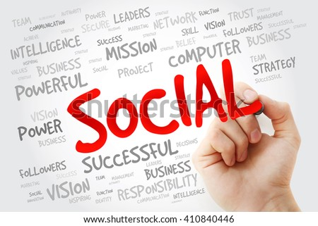 Hand writing SOCIAL with marker, business concept background - stock photo