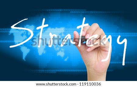 hand writing strategy - stock photo