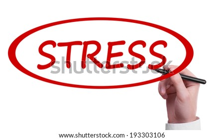Hand writing Stress on transparent wipe board - stock photo