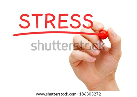 Hand writing Stress with marker on transparent wipe board. - stock photo