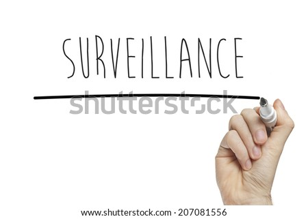 Hand writing surveillance on a white board - stock photo