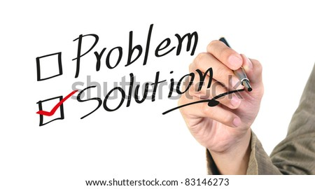 hand writing the solution isolated - stock photo