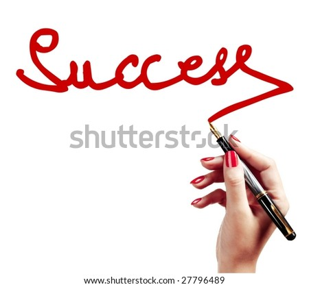 Hand writing the success word - stock photo